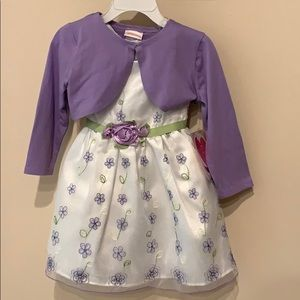 3T white and purple dress
